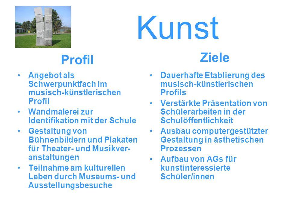 Kunst Ziele. Profil. Angebot als Schwerpunktfach im musisch-künstlerischen Profil. Wandmalerei zur Identifikation mit der Schule.