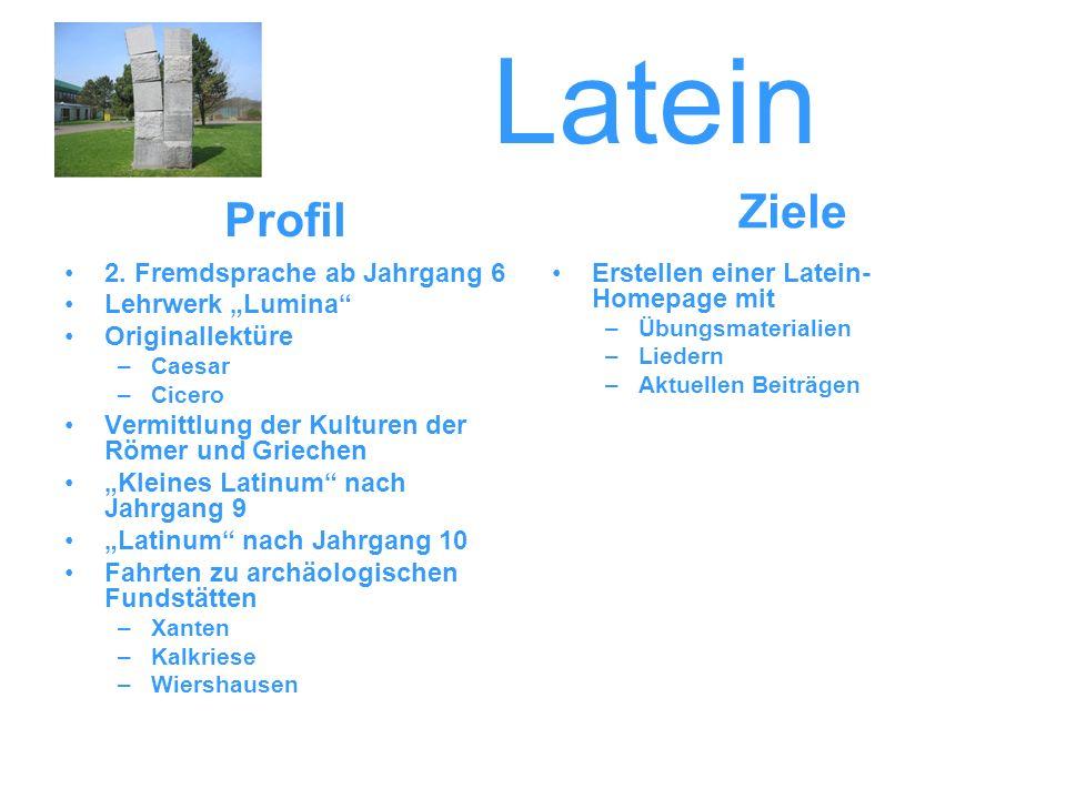 "Latein Ziele Profil 2. Fremdsprache ab Jahrgang 6 Lehrwerk ""Lumina"