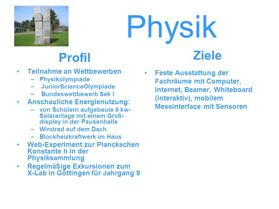 Physik Ziele Profil Teilnahme an Wettbewerben