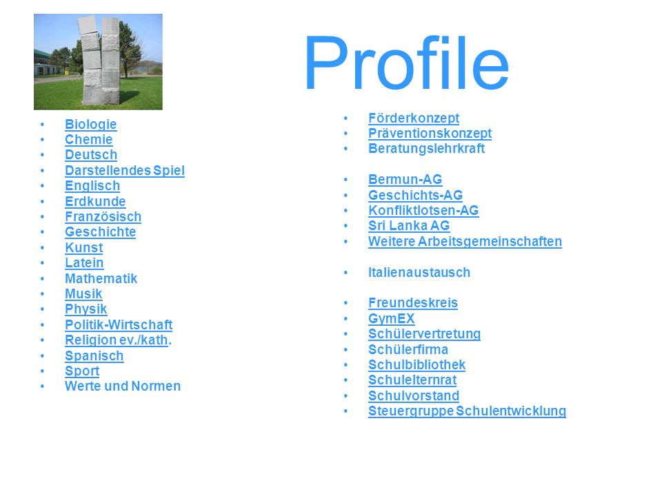 Profile Förderkonzept Biologie Präventionskonzept Chemie