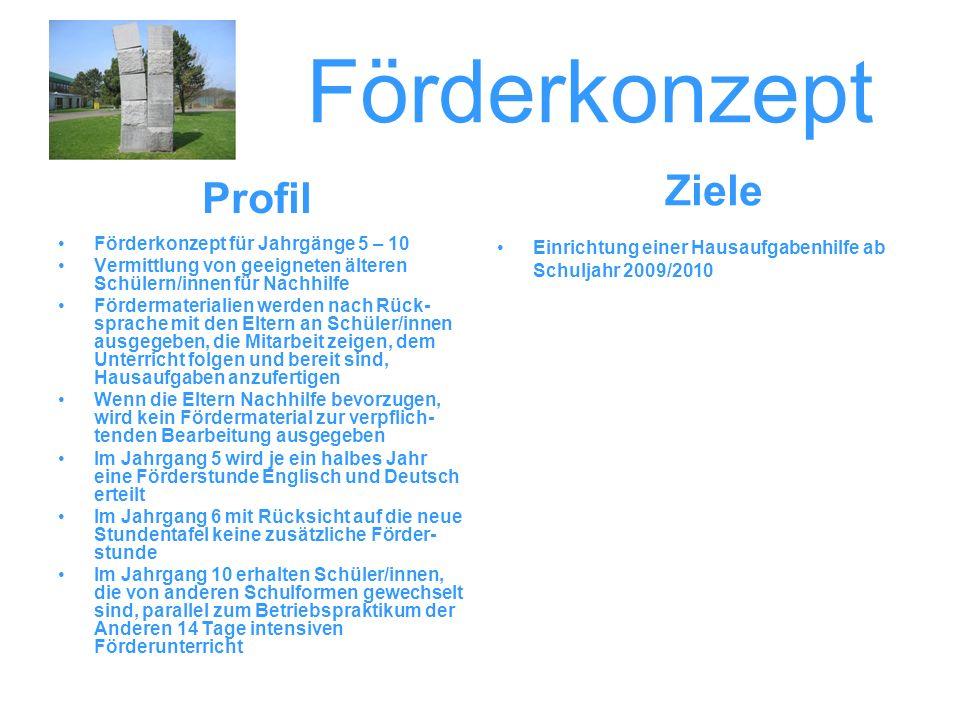 Förderkonzept Ziele Profil Förderkonzept für Jahrgänge 5 – 10