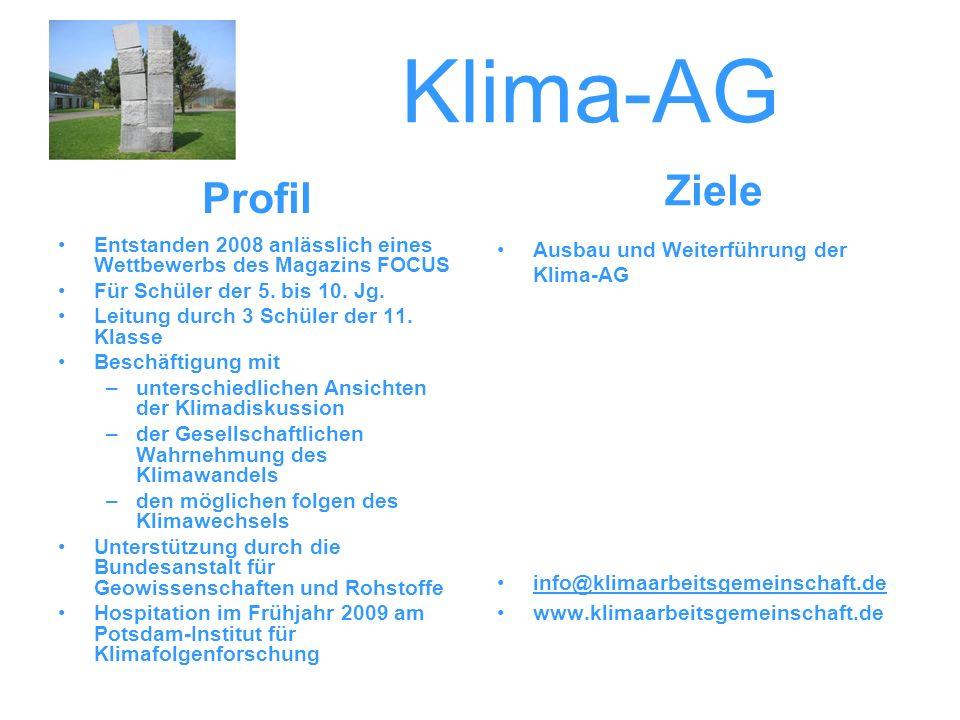 Klima-AG Ziele. Profil. Entstanden 2008 anlässlich eines Wettbewerbs des Magazins FOCUS. Für Schüler der 5. bis 10. Jg.