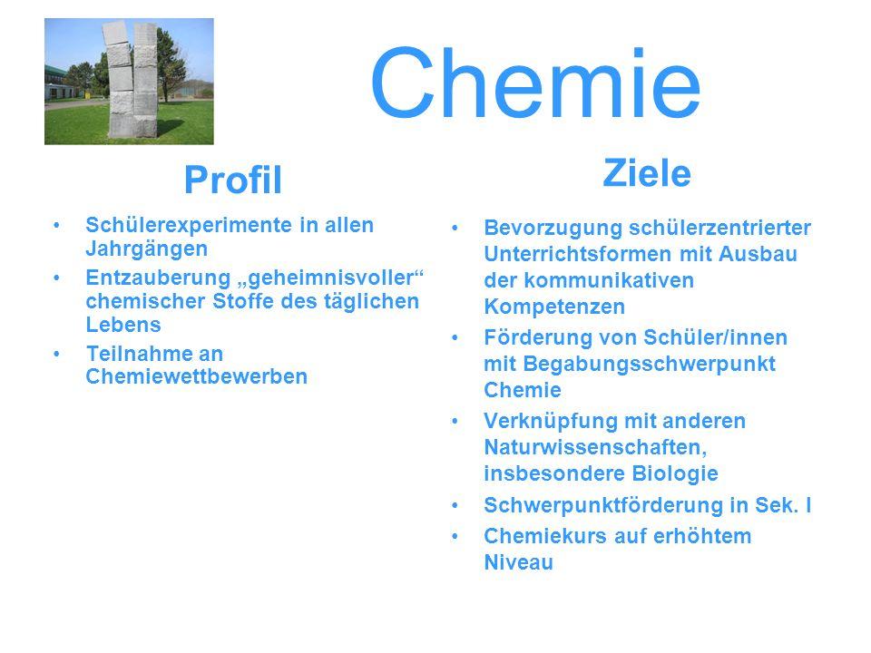 Chemie Ziele Profil Schülerexperimente in allen Jahrgängen