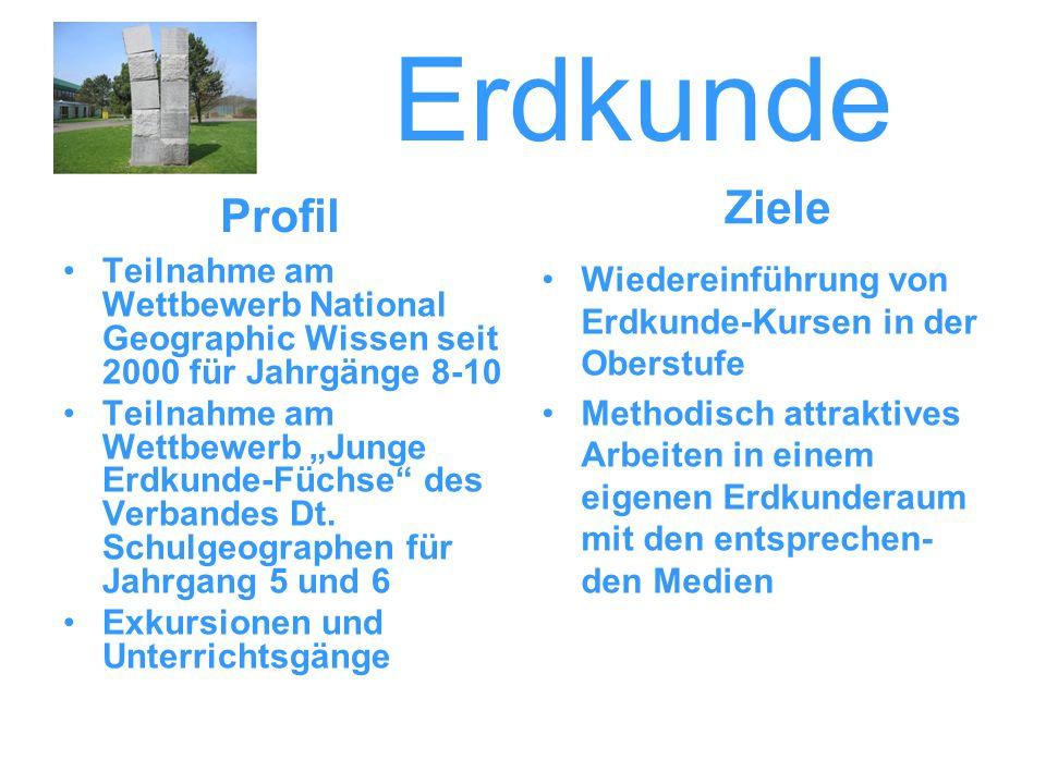 ErdkundeZiele. Profil. Teilnahme am Wettbewerb National Geographic Wissen seit 2000 für Jahrgänge 8-10.