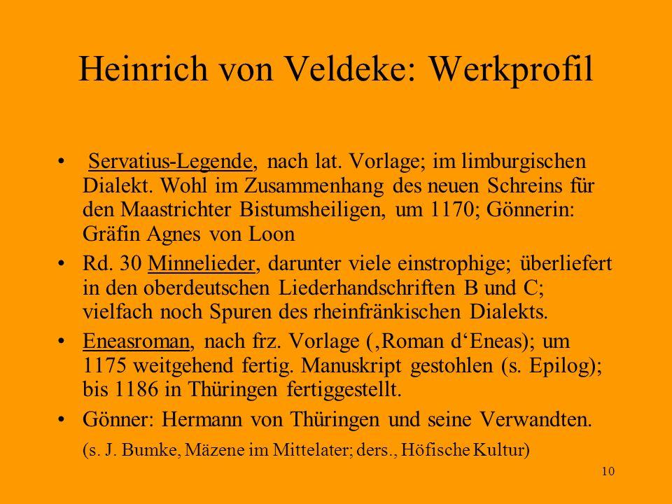 Heinrich von Veldeke: Werkprofil