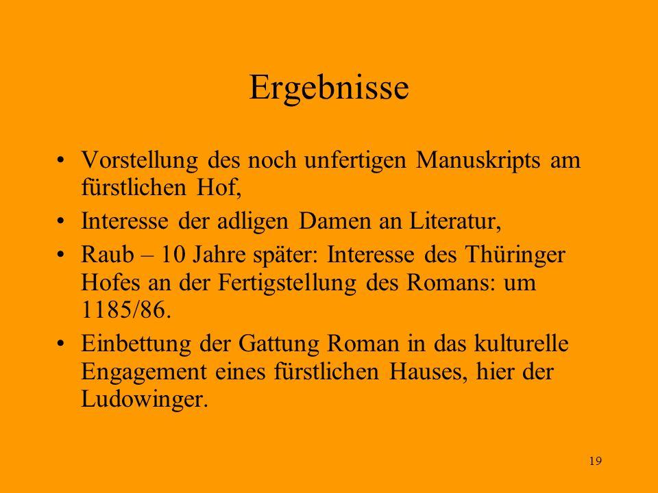 Ergebnisse Vorstellung des noch unfertigen Manuskripts am fürstlichen Hof, Interesse der adligen Damen an Literatur,