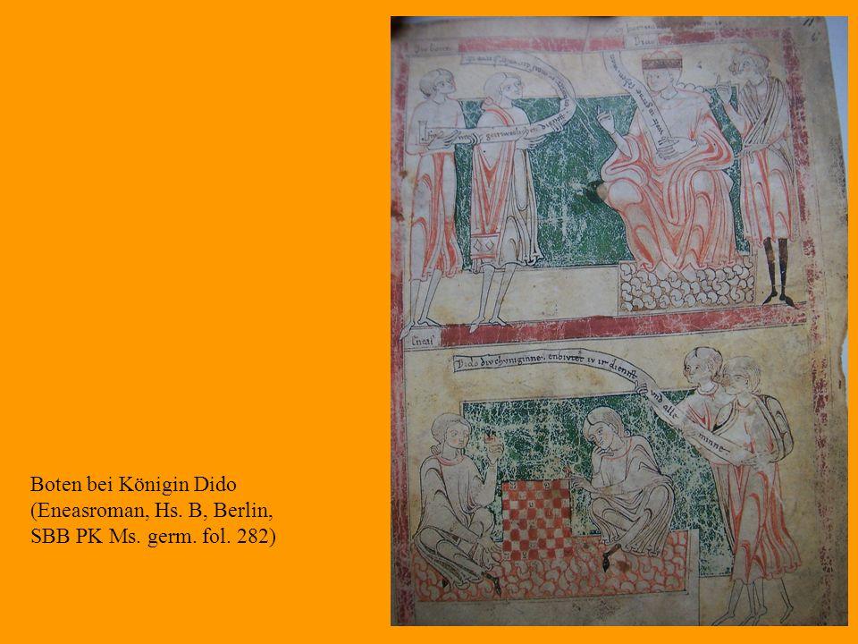 Boten bei Königin Dido (Eneasroman, Hs. B, Berlin, SBB PK Ms. germ. fol. 282)