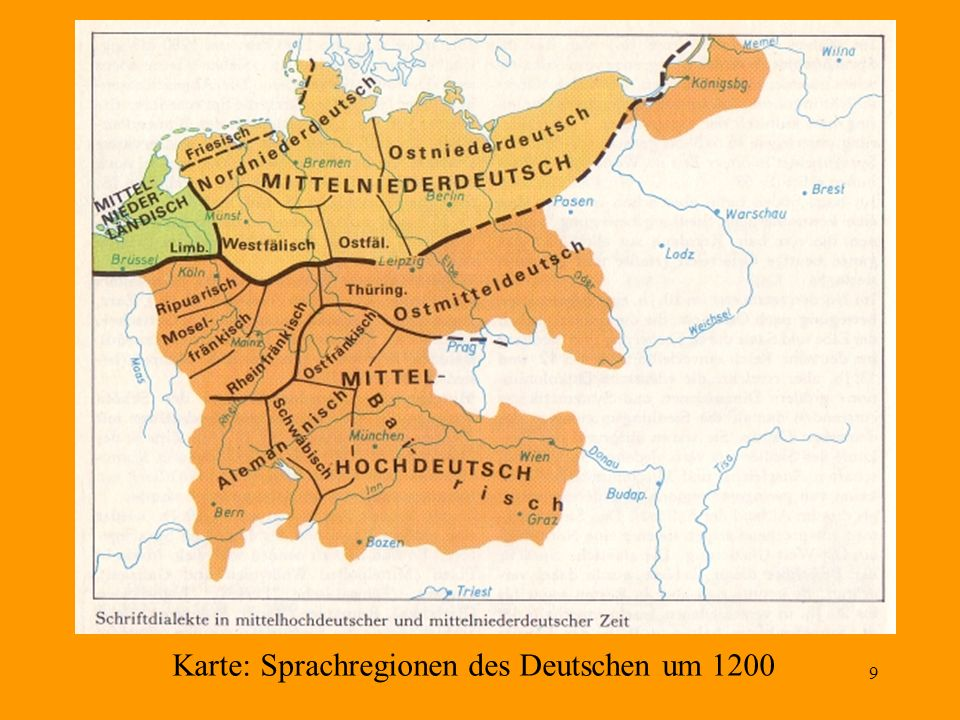 Karte: Sprachregionen des Deutschen um 1200