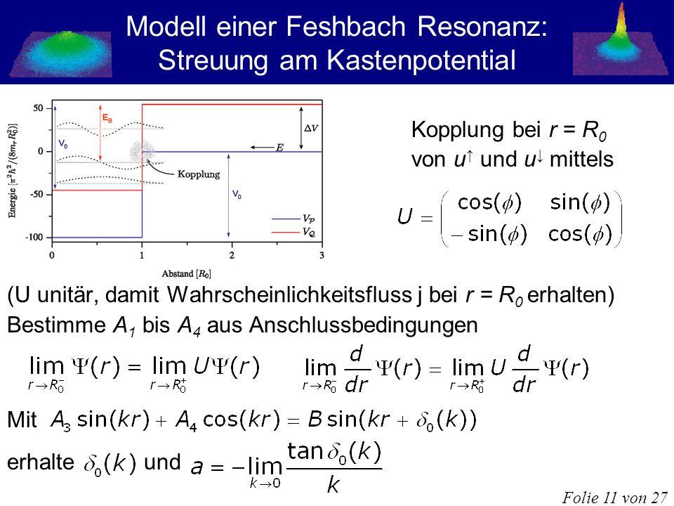 Modell einer Feshbach Resonanz: Streuung am Kastenpotential