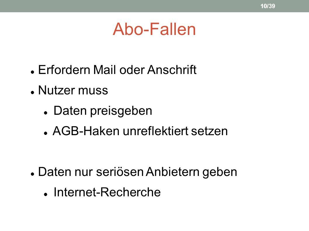 Abo-Fallen Erfordern Mail oder Anschrift Nutzer muss Daten preisgeben