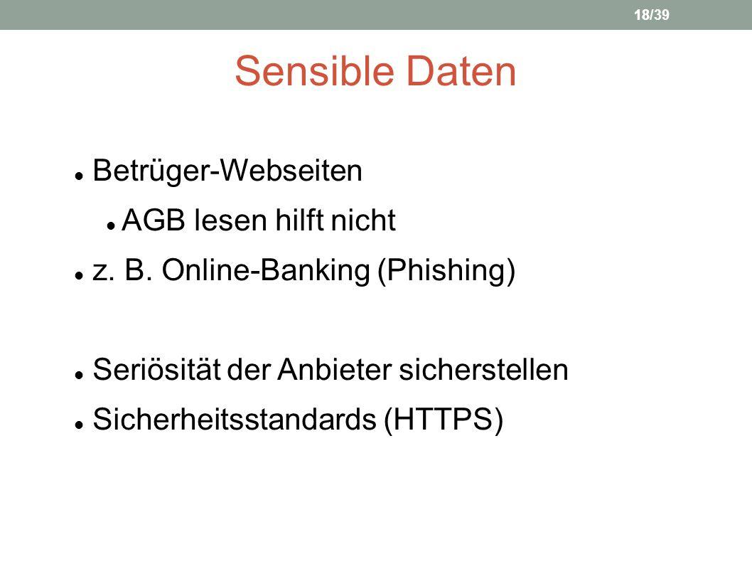 Sensible Daten Betrüger-Webseiten AGB lesen hilft nicht