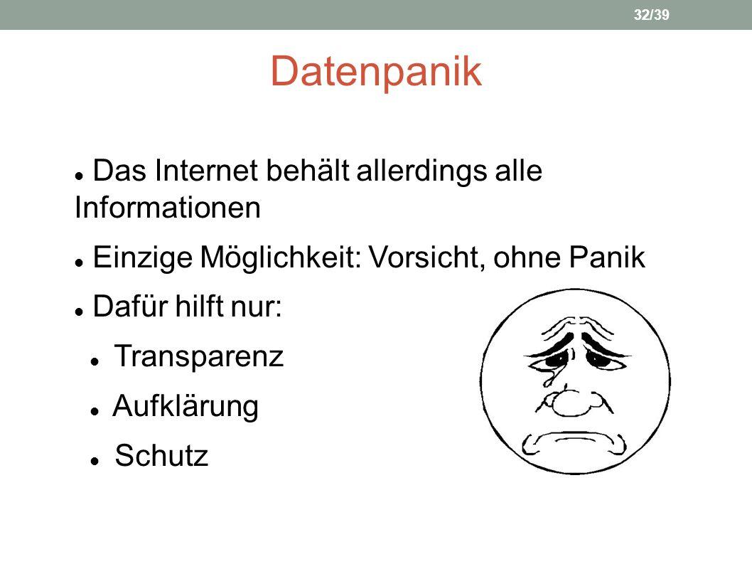 Datenpanik Das Internet behält allerdings alle Informationen