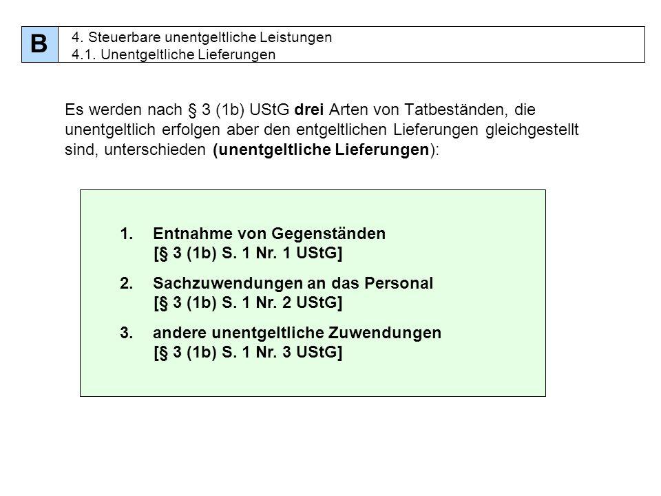 B 4. Steuerbare unentgeltliche Leistungen 4.1. Unentgeltliche Lieferungen.