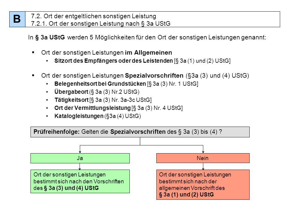 B 7.2. Ort der entgeltlichen sonstigen Leistung 7.2.1. Ort der sonstigen Leistung nach § 3a UStG.