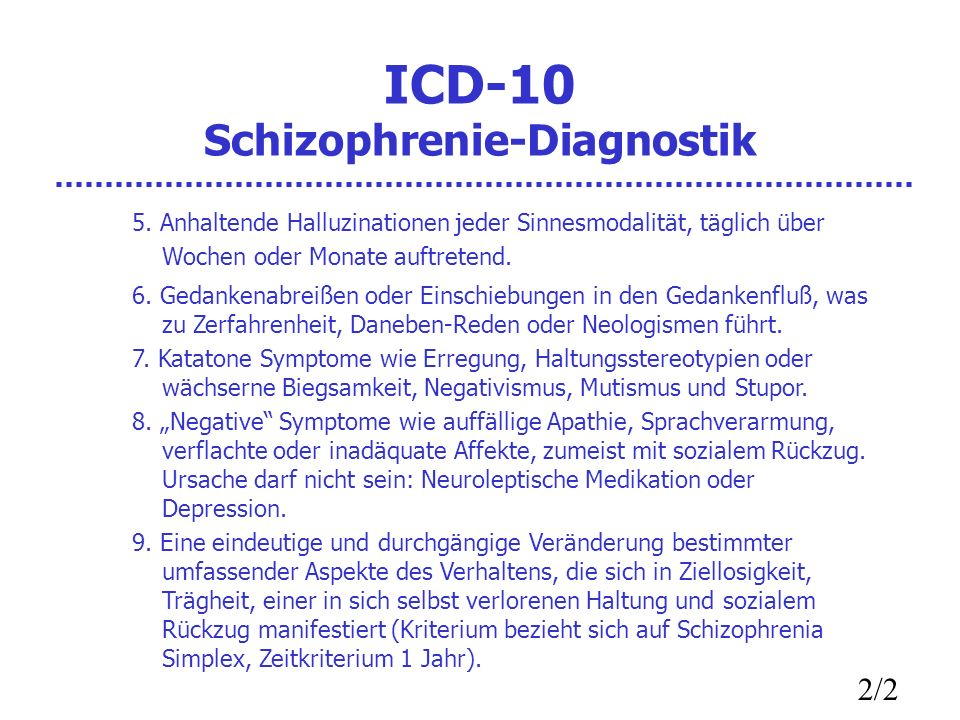 ICD-10 Schizophrenie-Diagnostik