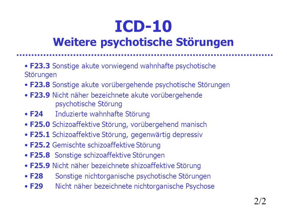 ICD-10 Weitere psychotische Störungen