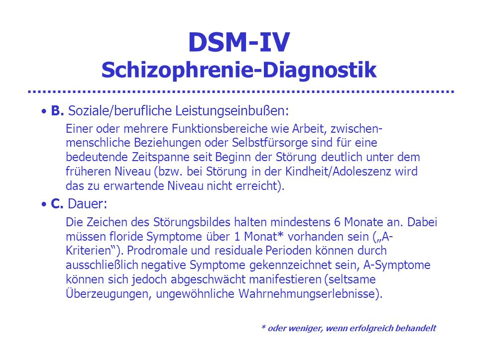 DSM-IV Schizophrenie-Diagnostik