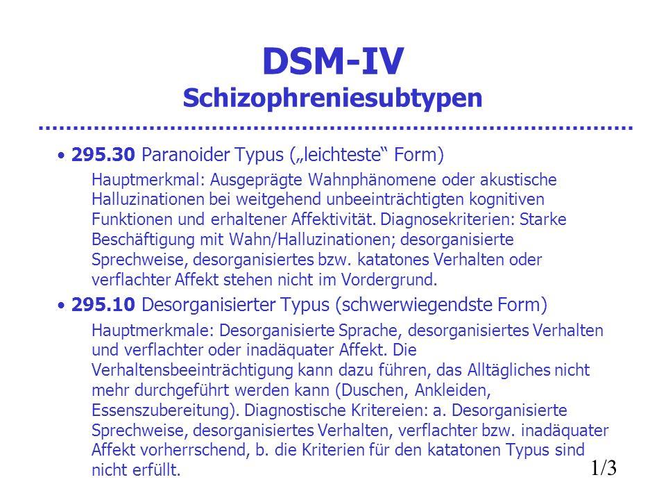 DSM-IV Schizophreniesubtypen