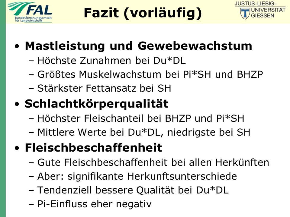 Fazit (vorläufig) Mastleistung und Gewebewachstum