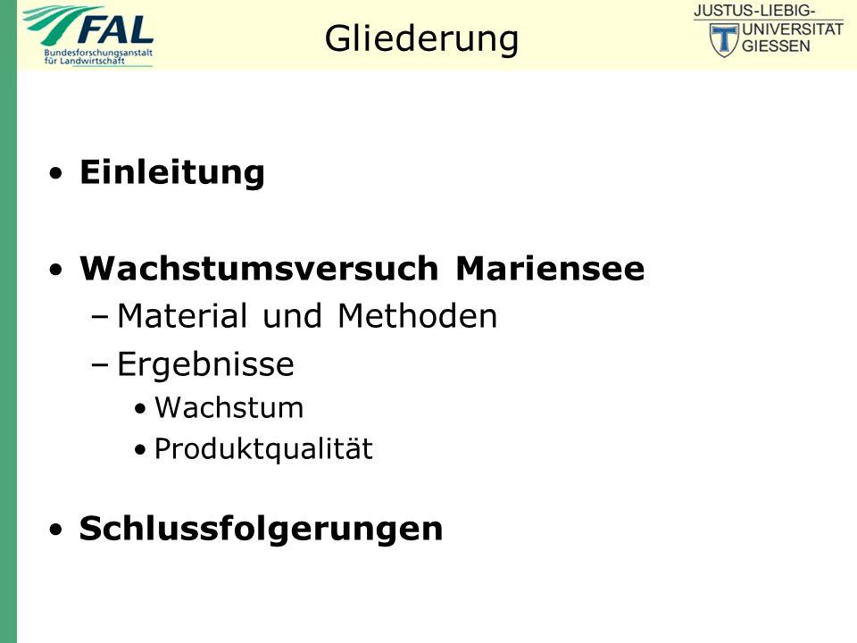 Gliederung Einleitung Wachstumsversuch Mariensee Material und Methoden