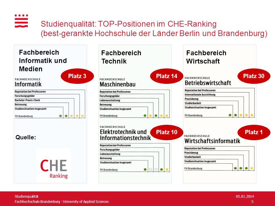 Studienqualität: TOP-Positionen im CHE-Ranking (best-gerankte Hochschule der Länder Berlin und Brandenburg)
