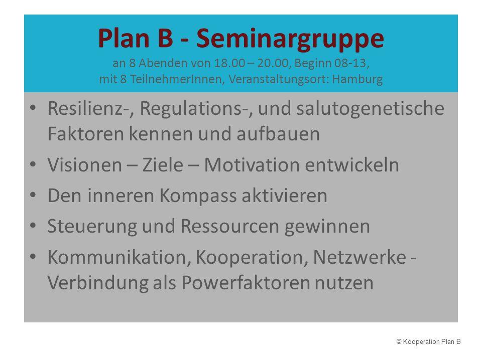 Plan B - Seminargruppe an 8 Abenden von 18. 00 – 20