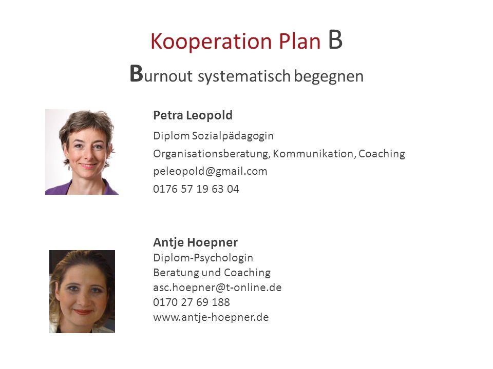 Kooperation Plan B Burnout systematisch begegnen