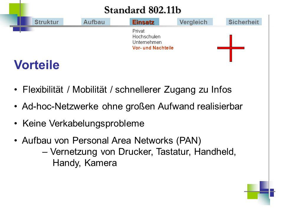 Standard 802.11b Struktur. Aufbau. Einsatz. Vergleich. Sicherheit. Privat. Hochschulen. Unternehmen Vor- und Nachteile.