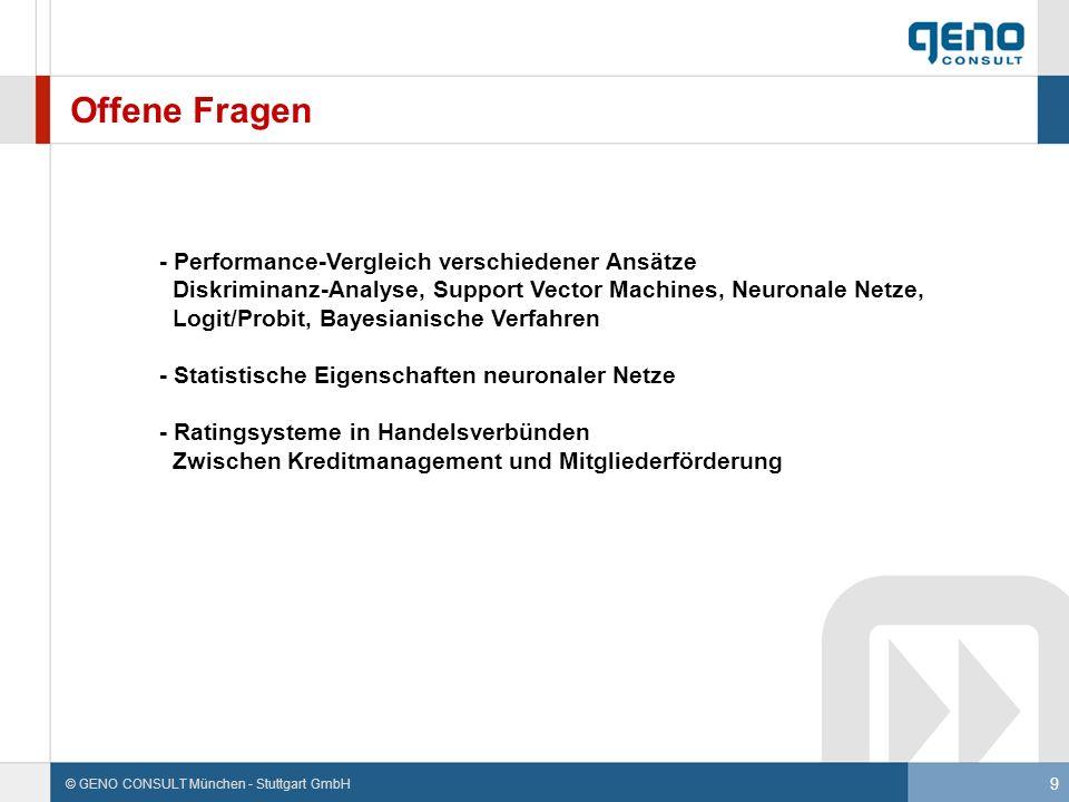 Offene Fragen - Performance-Vergleich verschiedener Ansätze