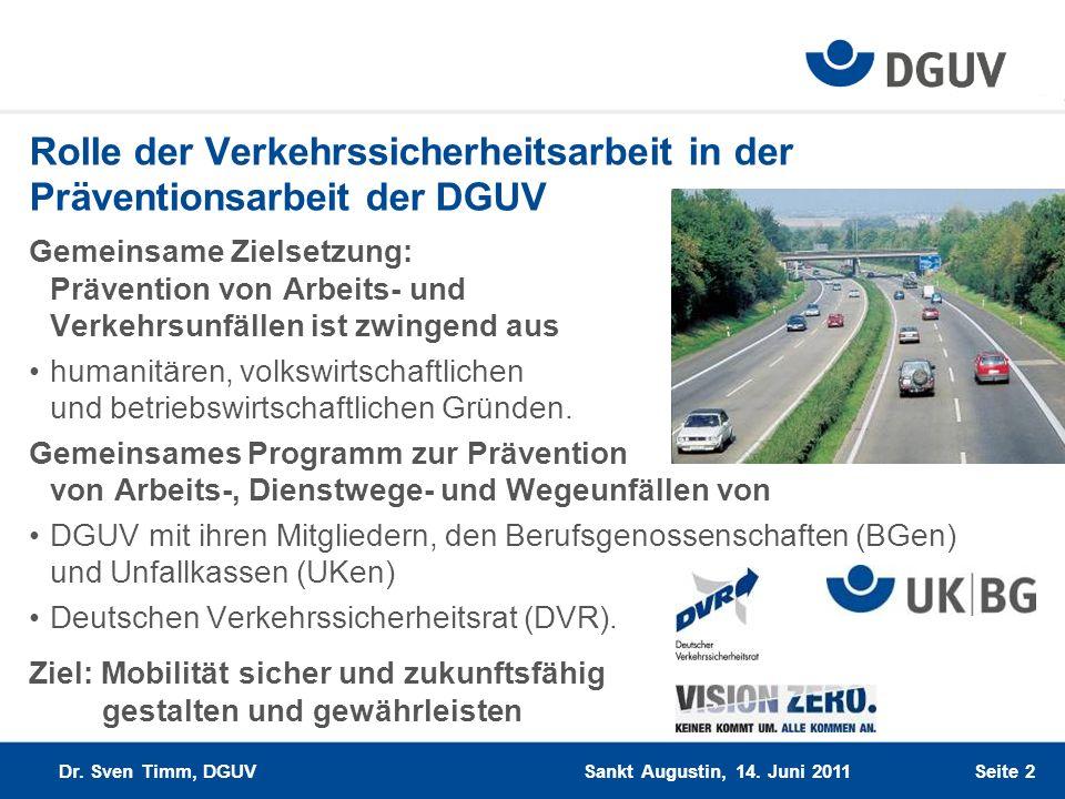 Rolle der Verkehrssicherheitsarbeit in der Präventionsarbeit der DGUV