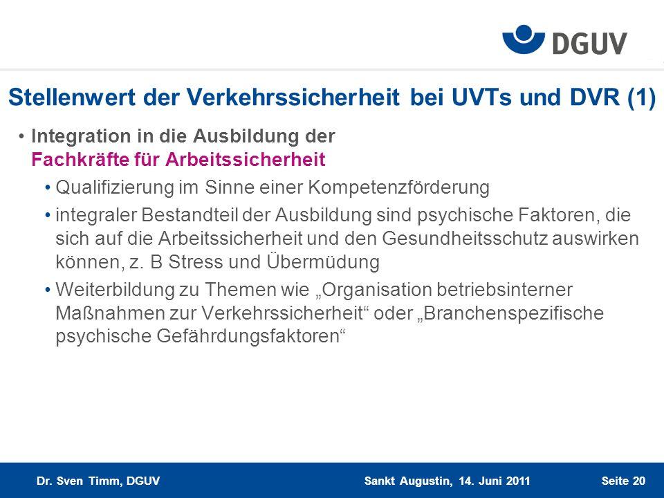 Stellenwert der Verkehrssicherheit bei UVTs und DVR (1)