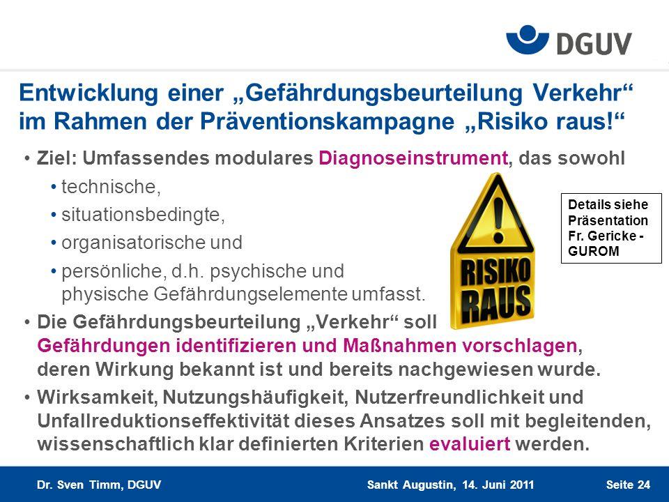 """Entwicklung einer """"Gefährdungsbeurteilung Verkehr im Rahmen der Präventionskampagne """"Risiko raus!"""