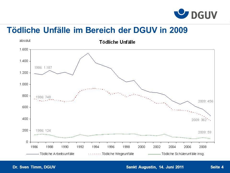 Tödliche Unfälle im Bereich der DGUV in 2009