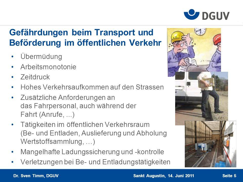Gefährdungen beim Transport und Beförderung im öffentlichen Verkehr