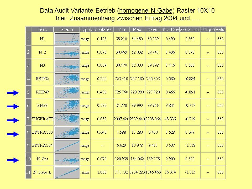 Data Audit Variante Betrieb (homogene N-Gabe) Raster 10X10