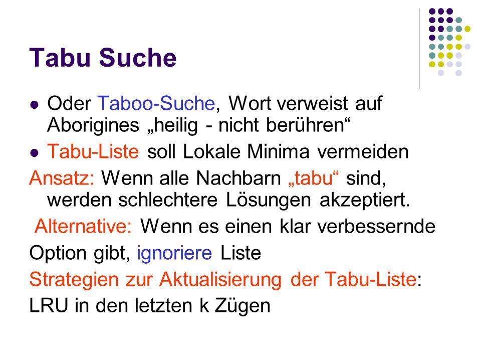 """Tabu Suche Oder Taboo-Suche, Wort verweist auf Aborigines """"heilig - nicht berühren Tabu-Liste soll Lokale Minima vermeiden."""