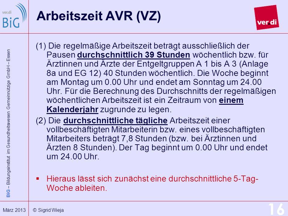 Arbeitszeit AVR (VZ)