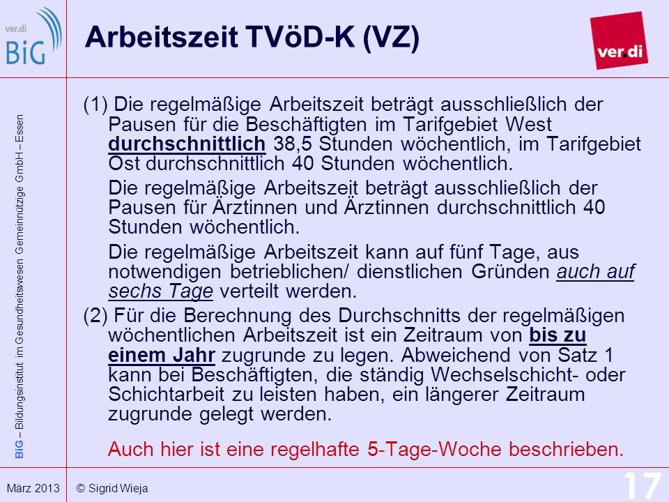Arbeitszeit TVöD-K (VZ)