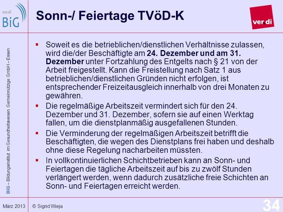Sonn-/ Feiertage TVöD-K