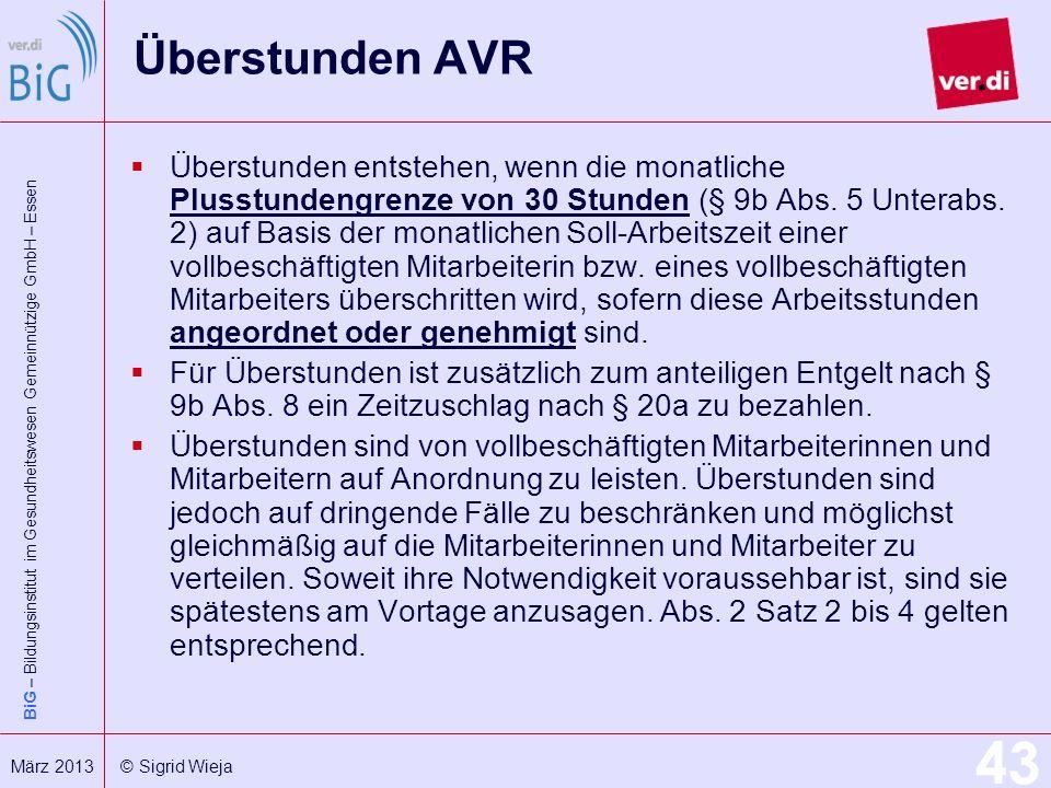 Überstunden AVR