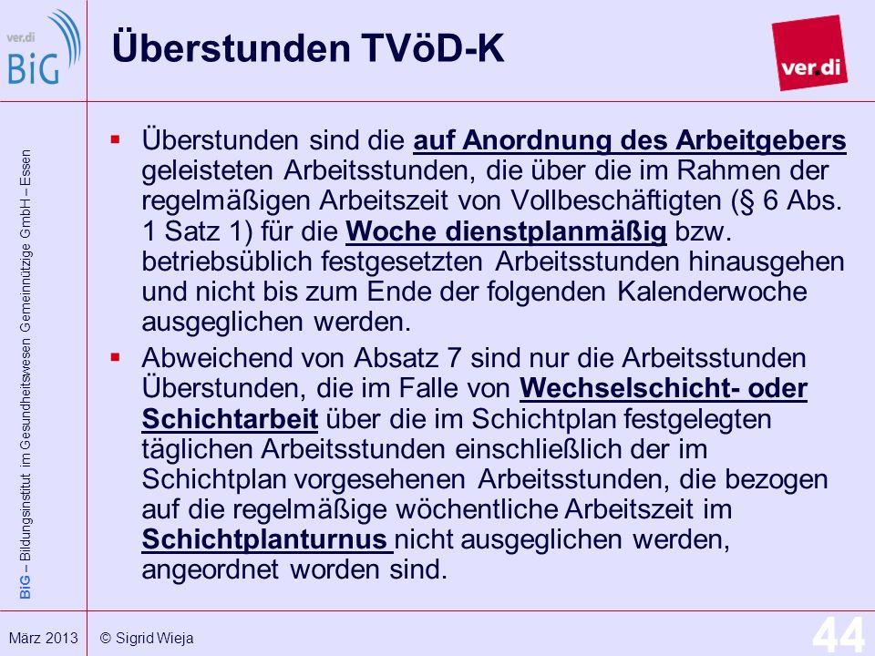 Überstunden TVöD-K