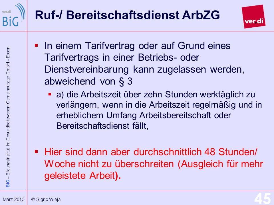 Ruf-/ Bereitschaftsdienst ArbZG