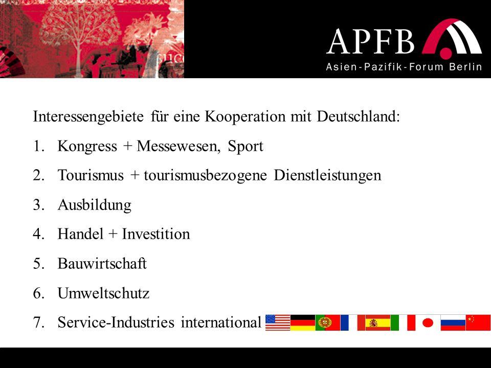 Interessengebiete für eine Kooperation mit Deutschland: