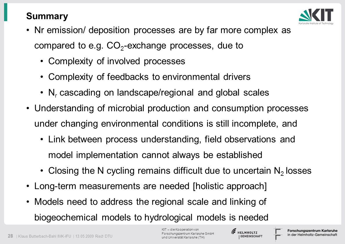 SummaryNr emission/ deposition processes are by far more complex as compared to e.g. CO2-exchange processes, due to.