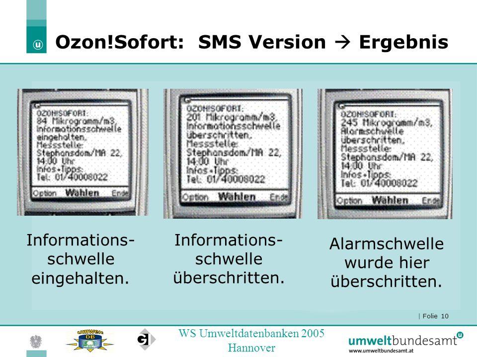 Ozon!Sofort: SMS Version  Ergebnis