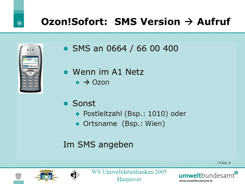 Ozon!Sofort: SMS Version  Aufruf