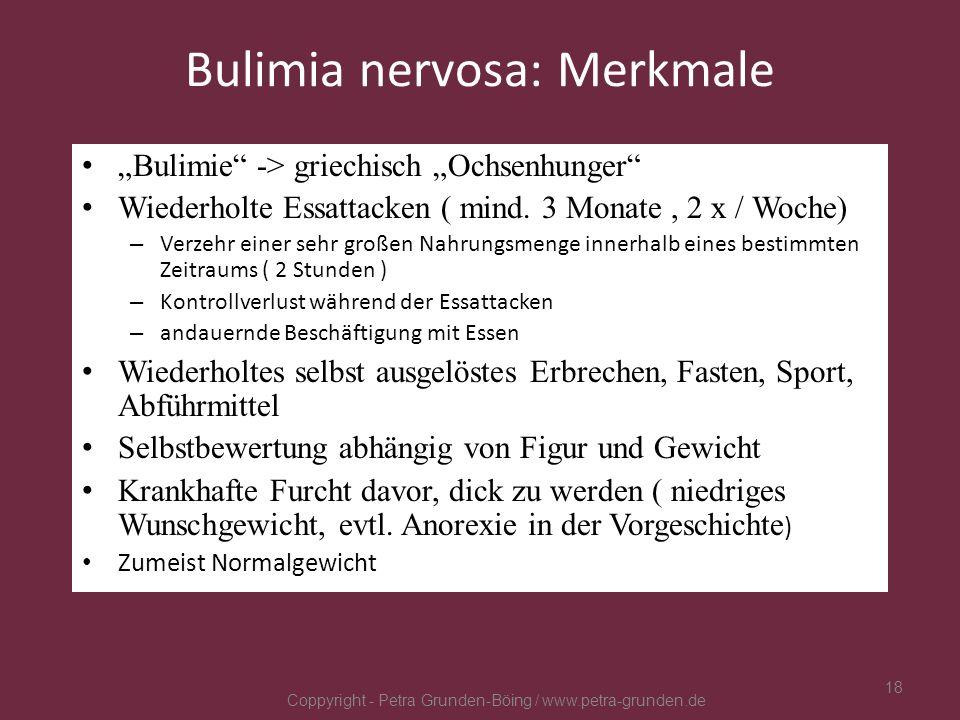 Bulimia nervosa: Merkmale