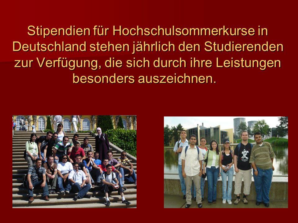 Stipendien für Hochschulsommerkurse in Deutschland stehen jährlich den Studierenden zur Verfügung, die sich durch ihre Leistungen besonders auszeichnen.