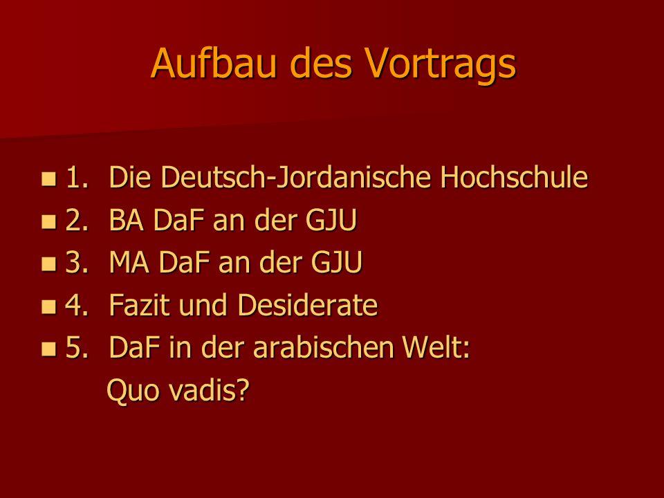 Aufbau des Vortrags 1. Die Deutsch-Jordanische Hochschule
