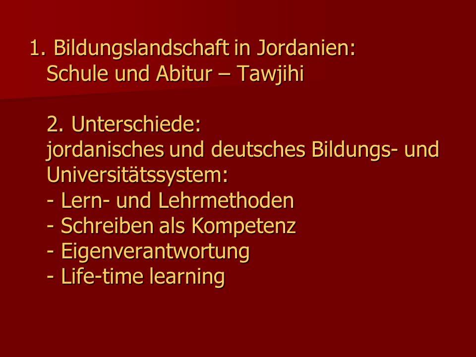 1. Bildungslandschaft in Jordanien: Schule und Abitur – Tawjihi 2